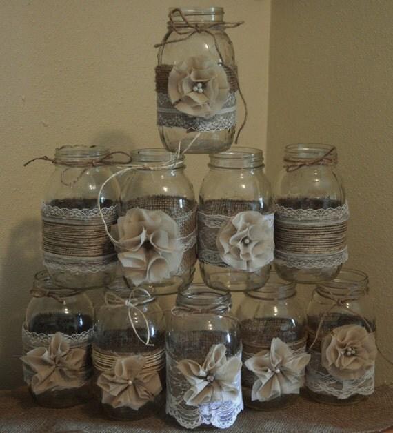 Mason Jar Party Decorations: Set Of 10 Mason Jar Sleeves Burlap Wedding Decorations