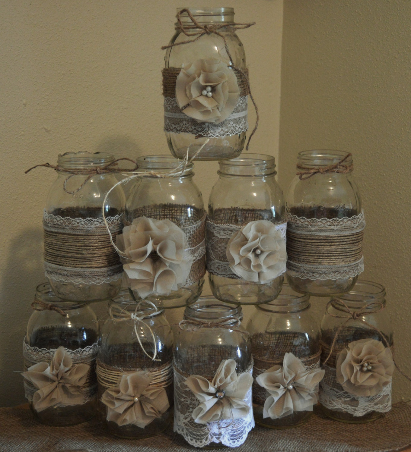 Country Wedding Mason Jars: Set Of 10 Mason Jar Sleeves Burlap Wedding Decorations