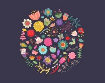 Cute Vintage Flowers Clip Art - Set of 56 JPG, PNG and Vector Floral Elements
