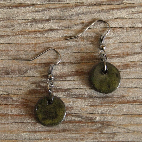 SMALL glossy khaki round stoneware drop earrings