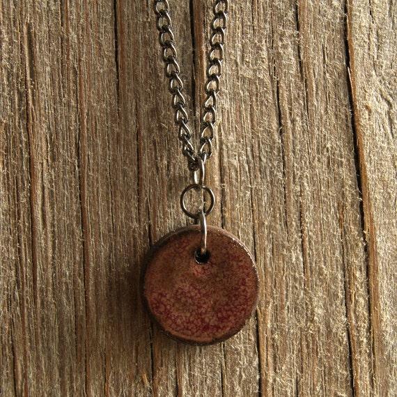 MEDIUM glossy pink round stoneware pendant
