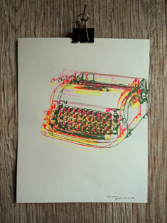 Dactylo #6, hand pulled silkscreen print, 8 x 10 inches, open edition.