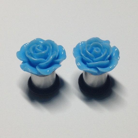 Etsy Plugs 2g 15mm Blue Rose Plugs 2g-00g