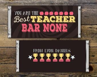 Teacher Appreciation Candy Bar Wrapper Covers, Teacher Chocolate Bar Gift Candy Wrappers - Digital- teacher appreciation gift, thank you,