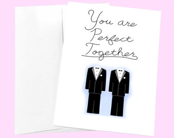 Cute Gay Wedding Card - Perfect Couple - Cute Gay Engagement Card - Gay Pride Card - Engagement Card Congratulations - Gay Marriage Card