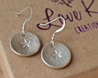 Silver Circular Earrings with star