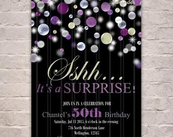 Women Surprise Birthday Party Invitation, Silver Purple Glitters Birthday Invite, Shhh It's A Surprise, Woman Birthday, Surprise Birthday