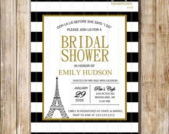 Paris Bridal Shower Invitation, Ooh La La Black and White Stripes, Paris Eiffel Tower Invite, Bachelorette Hens Party, DIY Printable Digital