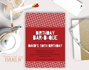 Barbecue Birthday INVITATION, BBQ surprise 30th birthday invite, Picnic, adult, 40th, 50th backyard party, the grill surprise party, summer