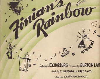 Finian's Rainbow, Vintage Sheet Music, Green and White Cover Art, Rainbows, Music Notes,