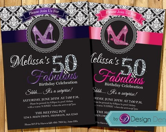 Women 50th Birthday Invitation.  Damask Pattern, Glitter High Heels Invitation. 30th 40th 60th . ANY AGE. #A1045