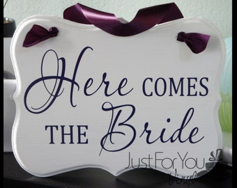 Here Comes The Bride Sign With Matching Ribbon - Perfect To Announce The Arrival Of The Bride And Customized For You