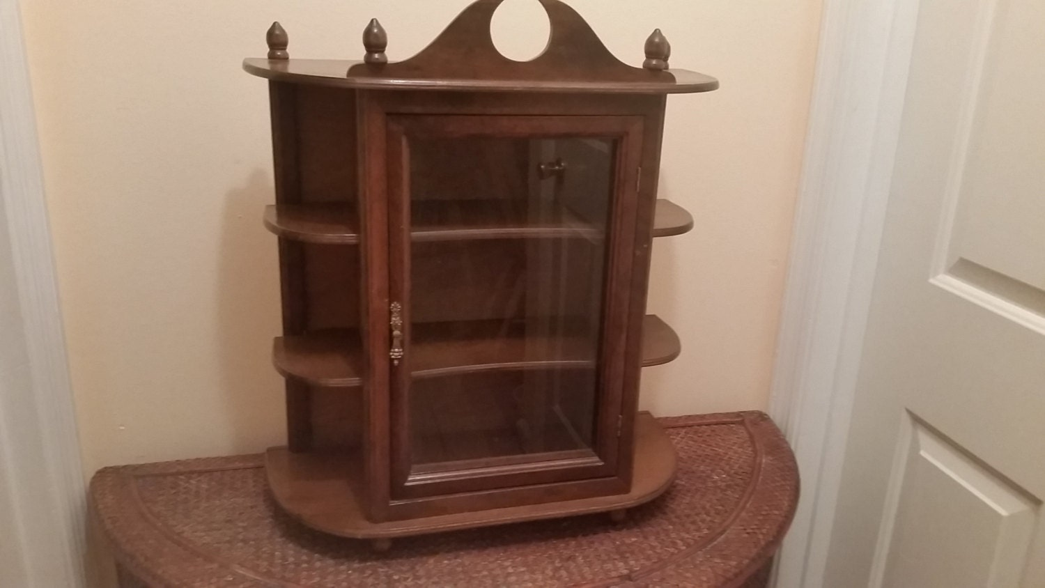 Small curio cabinet wood by sistersvintageattic