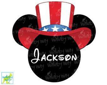 Patriotic Mickey Printable Iron On Transfer or Use as Clip Art, DIY Disney Shirt, America, Mickey Head, Digital, 4th of July, Stars & Stripe