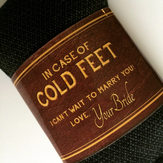 Printable Cold Feet Grooms Socks Label- Groom Gift from Bride- unique leather and gold effects- Instant Digital Download