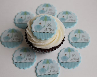 It's a Boy! Edible Image on Fondant Cupcake Toppers, 12 pack