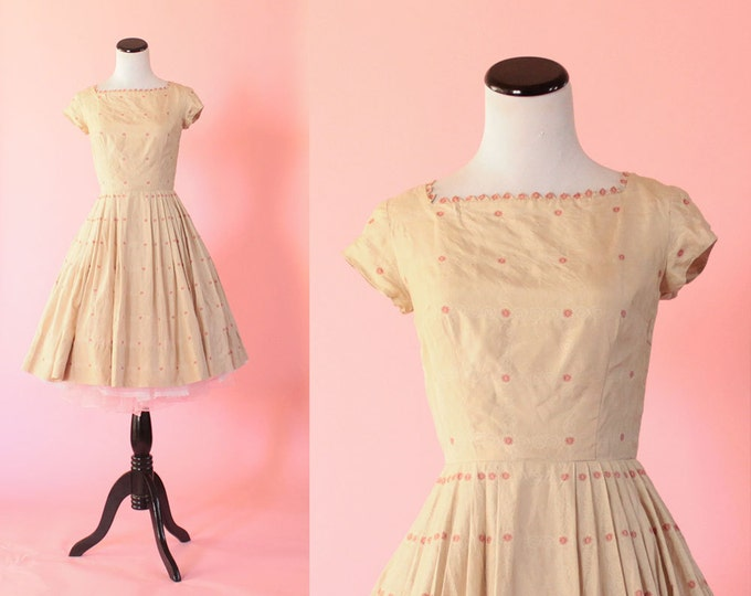 1950s floral silk dress/ 50s short sleeve sundress/ extra small xs