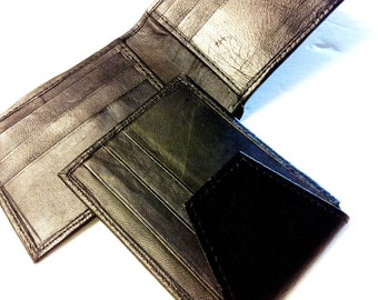 USA FREE SHIPPING  Mens Black Leather Bifold wallet,Leather Card Holder,Wallet On Sale,Genuine Leather wallet