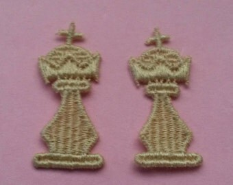 2 CHESS Pawn Game Patch Sew On Applique Patch