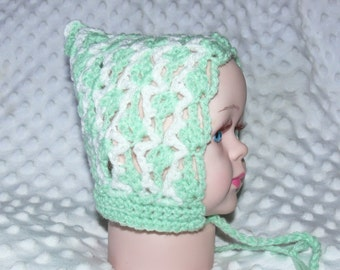 Newborn Baby Crocheted Green/White Pixie Bonnet with Ties