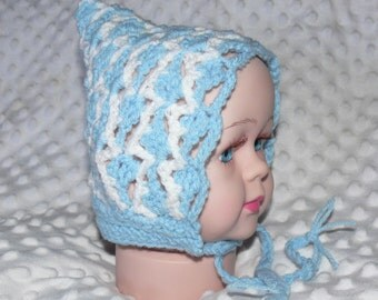 Newborn Baby Crocheted Blue/White Pixie Bonnet with Ties