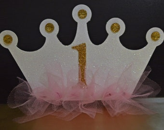 PRINCESS CROWN INVITATIONS, 1st Birthday, Princess Party, Pink and Gold, Crown Invitation, Tulle