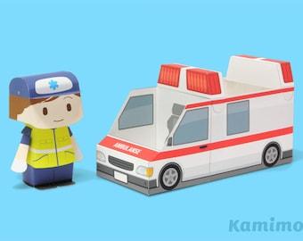 Ambulance Paper Toy / Printable Paper Craft PDF /  Tatten Plus - Emergency Vehicles