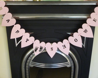 Pink baby shower bunting, garland, banner. Baby girl, footprint bunting