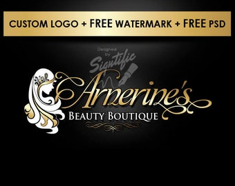 Custom small business logo, FREE watermark, gold lettering logo with female silhouette, logo for business card, logo design for website