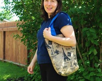 Blue Burlap Tote Bag - Eiffel Tower - Paris Travel - book bag