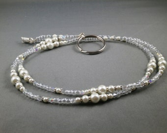 "white pearls and crystal beaded break away lanyard 36"" . Your choice of attachment: Id , key or eyeglass holder"