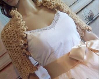 Champagne Bridal Shrug Wedding Jacket Bridesmaids Bolero Crochet Knit