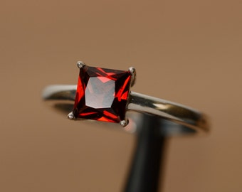 natural garnet ring princess cut gemstone red garnet ring January birthstone ring promise ring for her engagement ring