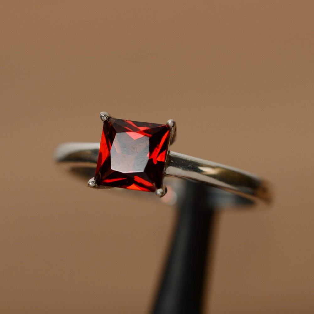 garnet ring princess cut gemstone garnet ring