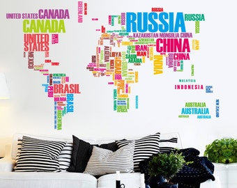 World map decal etsy corlorful large english letters map of world wall decals removable world map wall decals vinyl wall sciox Choice Image