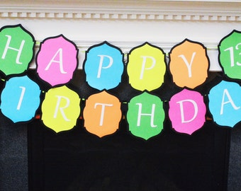 Neon Birthday Banner, Neon Happy Birthday Party in a Box!