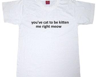 Punny cat Tshirt in white