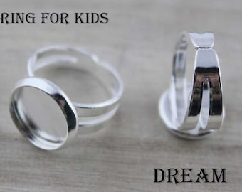 20pcs Silver Child Ring Blank-Adjustable Ring Base-Kid's Ring Bezels-Small Ring Settings