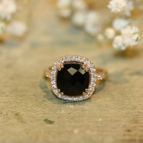 Natural Black yx Diamond Halo Engagement Ring by MidPointDesign