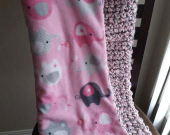 Pink Elephant Crochet and Fleece Baby Blanket