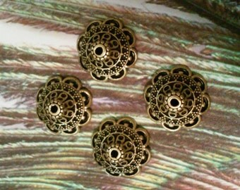 10 antique gold 16mm filigree  bead caps, jewelry making supplies, findings