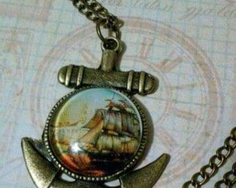 Men's bronze nautical anchor cabochon pendant necklace, ship glass cabochon pendant necklace