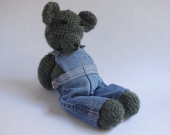 Crochet Bear Green in Denim Overalls