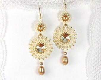 "Bead woven earrings ""Golden Shadow"". Beadwoven earrrings with Swarovski crystal and pearl. Beaded earrings. Bead weaving, beadwork"