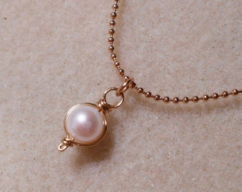 Wire Wrapped 8mm Freshwater Pearl Necklace