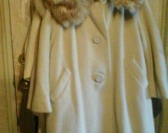 Vintage But Like New Norwegian Blue Fox Full Collared Wool Coat..Size 14/16