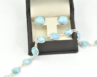 Larimar Bracelet/Earrings Set Ten 8mm & Two 10mm Larimar .925 Sterling Silver