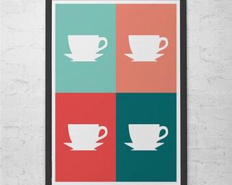 COFFEE POSTER ART -  Coffee Shop Poster - Kitchen Wall Art Pop Art Poster Modern Kitchen Art Stylish Kitchen Home Decor