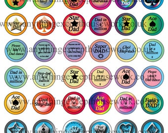 For dad's - Downloadable 1 inch circular dad-themed images for bottle-cap crafts