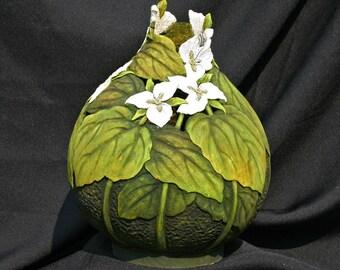 Trillium Flowers Carved Gourd
